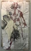 il sessantanovesimo giorno, 2016 (dal ciclo Incompleteness) disegno a matita,pennarello,acetato,nastro adesivo,stampa su carta lasciata all'esterno per 69 giorni, 66,5x39