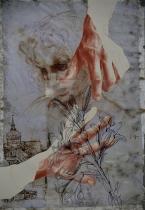 RL 12552 r, 2014 matita sanguigna, pennarello su acetato, nastro adesivo, stampa su carta sottoposta alle intemperie per tre mesi, cm 48x32,5